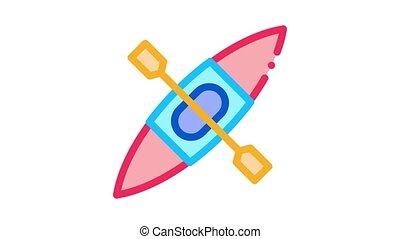 Kayak Icon Animation. color Kayak animated icon on white background