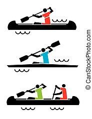 kayak, icons., canoa