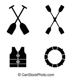 kayak icons Vector illustration