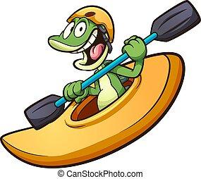 kayak, iguane