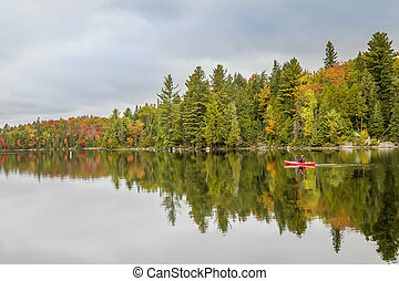 Kayak in Algonquin Provincial Park in Autumn