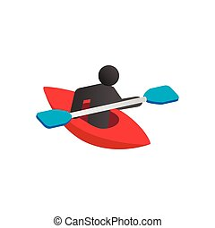 Kayak isometric 3d icon on a white background. Kayaking water sport
