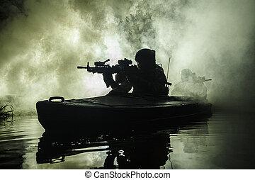 kayak, militants, armée
