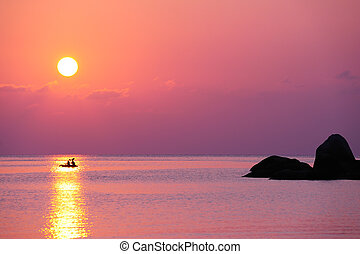 kayak, montando, junte pôr-do-sol