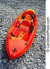 kayak, oarson, 海滩, 红海
