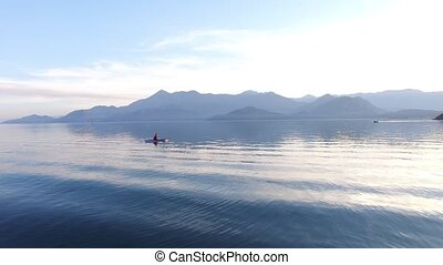 Kayak on Lake Skadar in Montenegro. Tourist kayaking. Aerial Pho