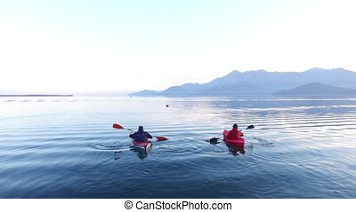 Kayak on Lake Skadar in Montenegro. Tourist kayaking. Aerial Pho