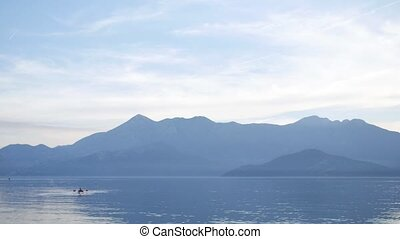 Kayak on Lake Skadar in Montenegro. Tourist kayaking. Aerial...