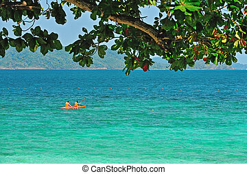 kayak on the beach, Phuket Thailand