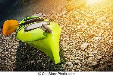 Kayak on the Lake Shore