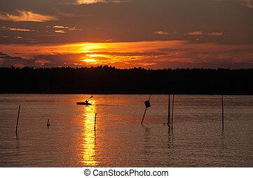 Kayak on the lake. - Sunset on Kisajno Lake, Masurian Lake...
