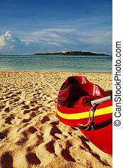 kayak on the sandy beach