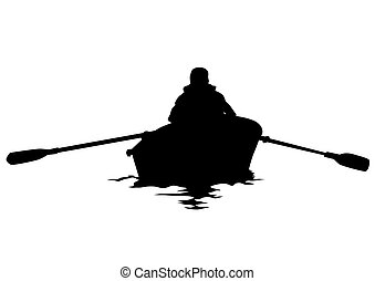 Kayak on white background - Athletes whit kayak on white...