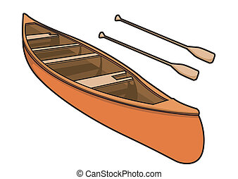 Canoe with Paddle in Vector Illustration - Kayak or Canoe...