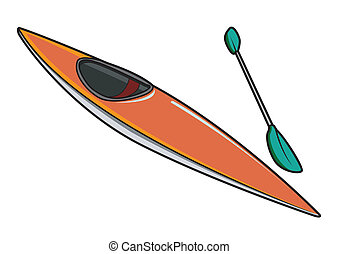 Kayak or Canoe with Paddle in Vector Illustration