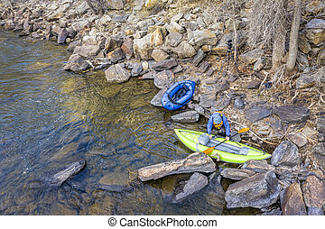 kayak, packraft and paddler aerial view