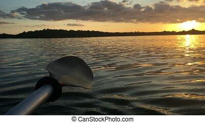 Kayak Paddle at Sunset - Kayak Paddle close-up Calm Waters ...