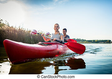 kayak, par, remar, lago