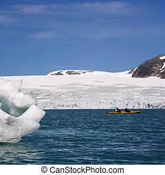 kayak, près, glacier