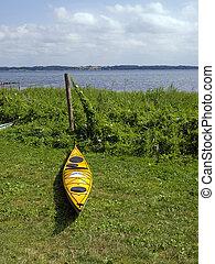 Kayak ready to sail - sea sport background