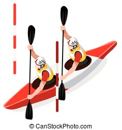 Kayak Slalom Doubles 2016 Sports Isometric 3D Vector...