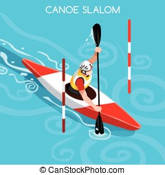 Kayak Slalom Summer Games Isometric 3D Vector Illustration -...