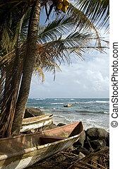 kayak small fishing paddle boats Caribbean Sea Big Corn Island Nicaragua Central America