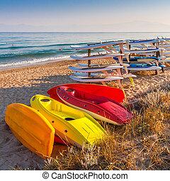 kayak, soleggiato, mattina, day., memoriz., mare, spiaggia, surfboad