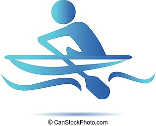 Kayak sport icon vector logo