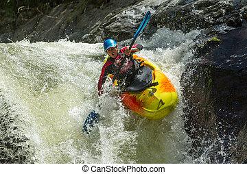 kayak, sprong, waterval