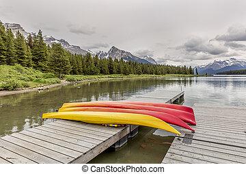 kayak, su, uno, bacino, -, lago maligne, canada