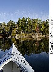 kayak, sur, calme, lac