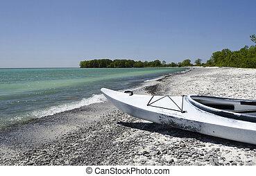 kayak, sur, lac ontario, rivage