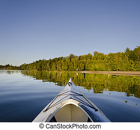 kayak, sur, tranquille, lac