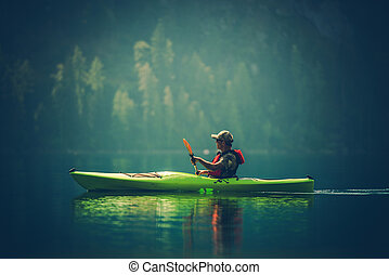 Kayak Tour on the Lake. Middle Age Caucasian Men in the...