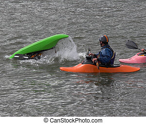 kayak training 2 - kayaker practicing recovery from roll...