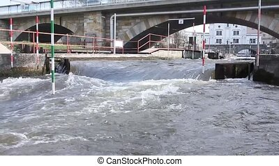 Kayak training, Kayak Race near the bridge where water...