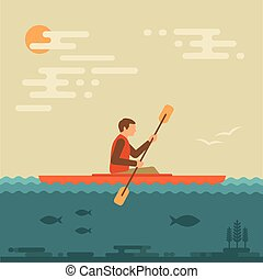 kayaking water sport, - kayak vector illustration, kayaking...