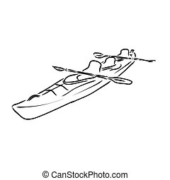 kayak vector sketch on a white background