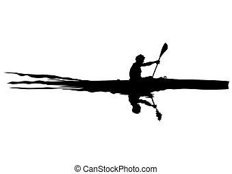 kayak, whit, atletas