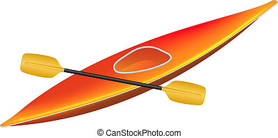Kayak with paddle isolated on white background