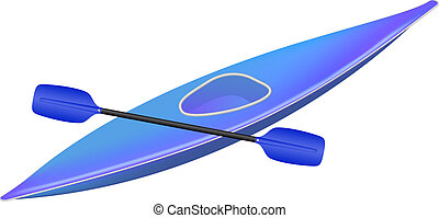 Kayak with paddle in blue design