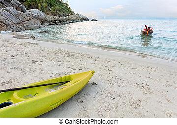 kayak, zand, levendig