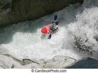 kayaker , μέσα , ένα , whitewater