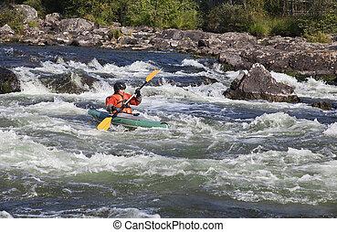 kayaker , μέσα , whitewater