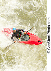 Kayaker Aerial View - An Active Kayaker On The Rough Water