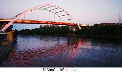 Kayaker Cumberland River Paddling Under Bridge Nashville...