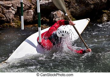 kayaker , maneuvering , σε , ποτάμι