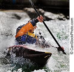 kayaker maneuvering at river treska ,in canyon Matka Macedonia