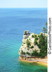 Kayaker Near Miners Castle at Pictured Rocks National Lakeshore